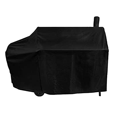 Unicook Offset Smoker Cover, 60 Inch Outdoor Heavy Duty Waterproof Charcoal Grill Cover, Fade & UV Resistant Smokestack BBQ Cover for Brinkmann, Char-Broil, Royal Gourmet and More, Black