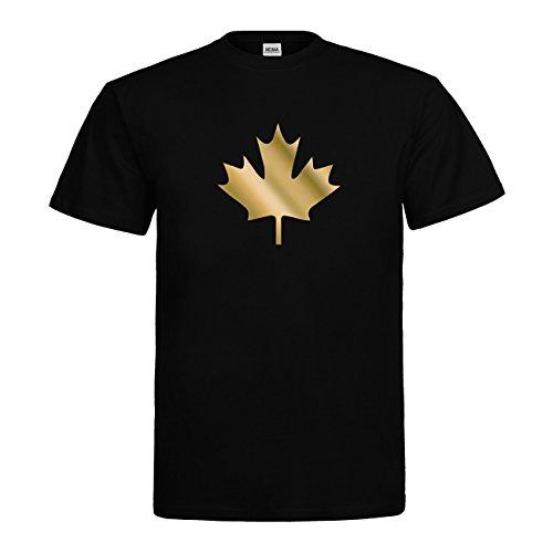 bester Test von ahorn canada te MDMA Kanada Ahornblatt Kanada Blatt T-Shirt N14-mdma-t00655-1 Textil Schwarz / Motiv Gold Gr.  Von.