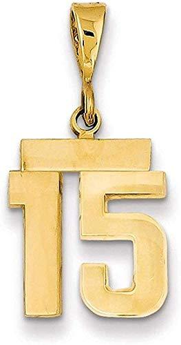 NC122 Colgante, Collar, Hombres y Mujeres, Regalos, Amarillo, número 15, Encanto, Deportes, joyería Fina para quién, Regalos para Ella