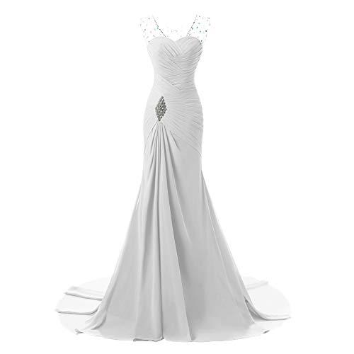 NIAIS Frauen Chiffon Brautkleid Meerjungfrau Abendkleid Plissee Büste Mit Kristallperlen,Gray-6