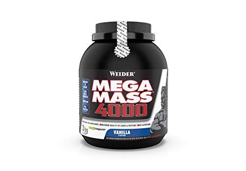 Weider Mega Mass 4000 Weight Gainer Shake mit Protein und Kreatin, Vanille, Muskelaufbau, 3kg