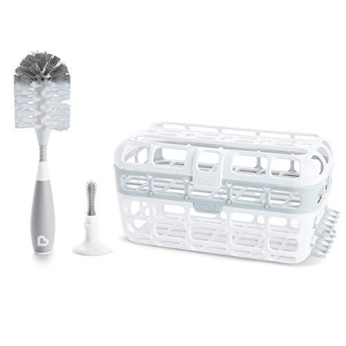 Munchkin - Set de limpieza para biberones y piezas pequeñas, incluye cesta para lavavajillas de alta capacidad y cepillo para botellas de cerdas, color gris, gris