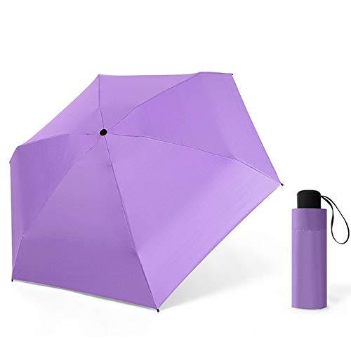 Mini Paraguas Plegable Ligero Lluvia Mujer Cápsula Portátil 5 Paraguas Plegable para Mujer Sombrillas A Prueba de Viento Parasol - púrpura