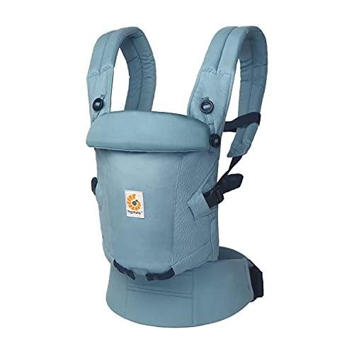 Mochila portabebé Ergobaby Adapt para recién nacidos desde el nacimiento, portabebé ergonómico de Algodón SoftTouch de 3posiciones para transportar en el abdomen y en la espalda, Slate Blue