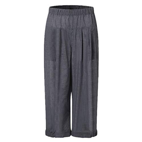 Xmiral Hose Damen Caprihose Elastische Taille Einfarbig Lose Breite Bein Hosen Sporthosen Mode Wilde Persönlichkeit Hosen(Grau,4XL)