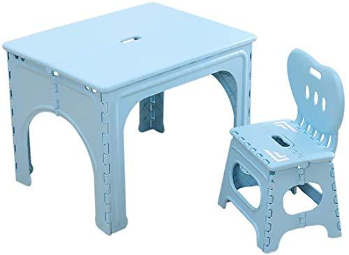 PIAOLING Sillón Mesa y sillas Plegables de niños Conjuntos para niños plásticos Mesa de plástico para niños niñas para niños para niños Picnic al Aire Libre Mesa de Comedor (Color : Blue)