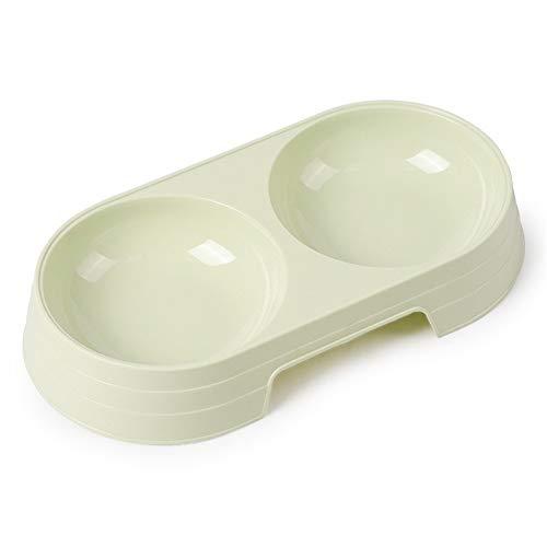 Kunststof Pet dubbele kommen creatieve non-slip-kom hondenvoer water feeder hond kat bowl pet feeding 23 X 12 X 3.5 cm groen