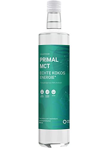 Primal State® MCT Öl [500ml] – inkl. Ausgießer in Glasflasche - 70% Caprylsäure und 30% Caprinsäure aus 100% Kokosöl – ohne Zusatzstoffe