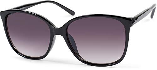 styleBREAKER Gafas de sol para mujer Oversize con lentes ovaladas de policarbonato y montura de plástico, Retro Style 09020092, color:Marco negro/delineado vidrio gris