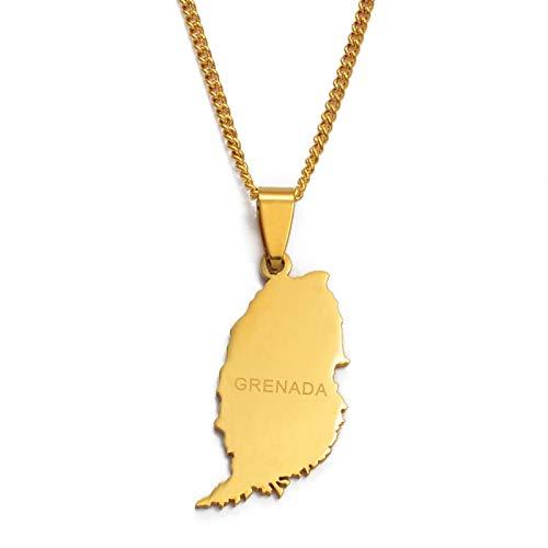 nice cheng Colgante de Mapa de Isla de Granate pequeño de Color Dorado y Collares de Cadena Fina para Mujeres Regalos de joyería # 012121