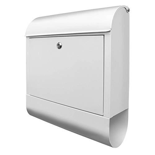 BANJADO Design Briefkasten weiß | 38x47x13cm mit Zeitungsfach | Stahl pulverbeschichtet | Wandbriefkasten DIN A4 groß | Postkasten modern