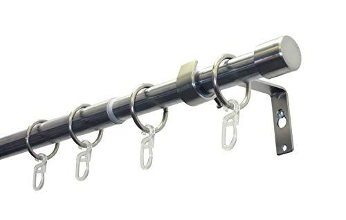Gardinia cap Set con Bastone per Tende e Accessori, 1 Binario Ø 19/16 mm, Estensibile da Entrambi i Lati, Effetto Acciaio Inox, 180-310 cm