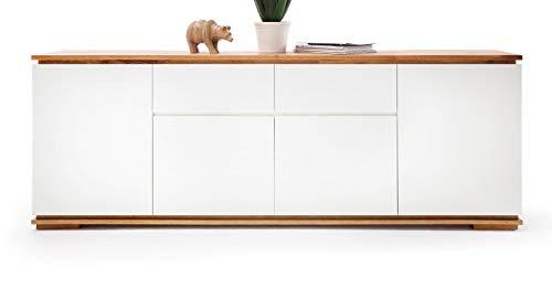 Chiaro Sideboard matt weiß Lack und Eiche/Asteiche massiv geölt Kommode 182 x 81 cm