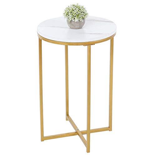 Tavolino comodino con motivo marmorizzato, facile da montare per soggiorno, camera da letto, 20 x 20 x 0,8 mm