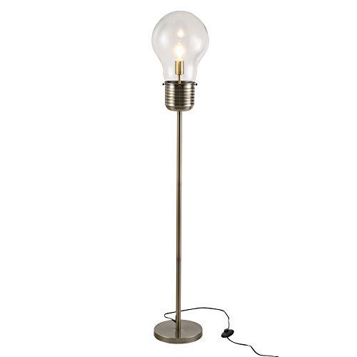HOMCOM Stehlampe industrialer Stil Standleuchte Stehleuchte Sockel E27 für Schlafzimmer Esszimmer, Bronze, Stahl, Glas, 27x27x158 cm