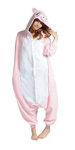 Anbelarui Tier Skelett Pinguin Dinosaurier Panda Einhorn Kostüm Damen Herren Pyjama Jumpsuit Nachtwäsche Halloween Karneval Fasching Cosplay Kleidung S/M/L/XL (S, Rosa Schwein)