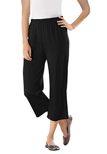 Woman Within Women's Plus Size 7-Day Knit Capri - 3X, Black