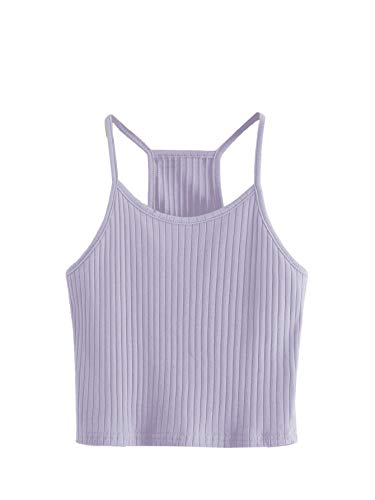SheIn Women's Summer Basic Sexy Strappy Sleeveless Racerback Crop Top Light Purple Medium