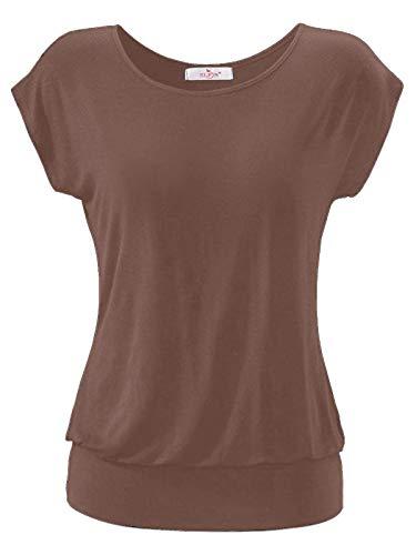 ELFIN Damen T-Shirt Ärmellos Longshirt Kurzarm Lässig Tunika Weite O-Neck Oberteile Sommer Basic Top