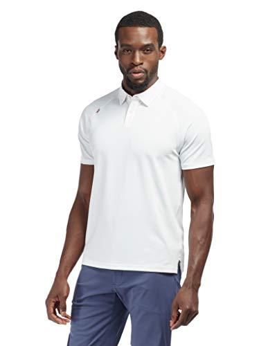 Rhone Delta Pique Polo Classic Collar, Lightweight Pique Mesh Fabric (White, X-Large)