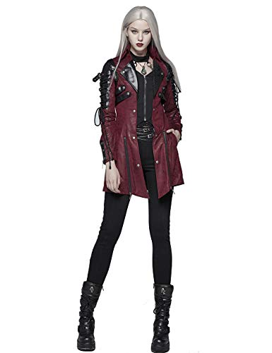 Punk Rave Gothic – Giacca da Donna in Finta Pelle Hot Rubber Sleeve Steampunk Casual Lungo Cappotto Rosso XL