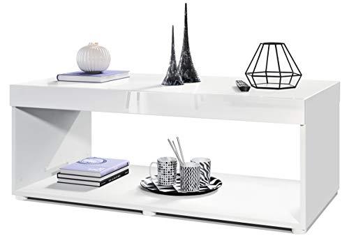 Vladon Couchtisch Wohnzimmertisch Pure mit Zwei großen Ablageflächen, Korpus in Weiß matt/Tischplatte und Blenden in Weiß Hochglanz | Große Farbauswahl