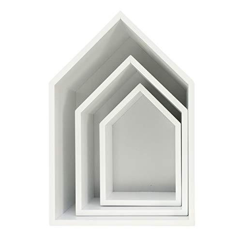 Puckdaddy Hausregal Elise in Grau, 3er-Set – dekorative Regale im Haus-Design, Kinderzimmer-Regal