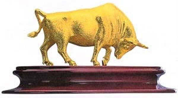 Schwantes Trading RISIS 24 Karat Gold Bull 5 5 Inch Figurine Feng Shui