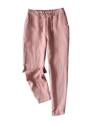 Tomwell Pantalon en Lin Femmes Été Décontractée Coton Lin Ample Pantalon Léger Élastique Solide Couleur Pantalon B Rose L