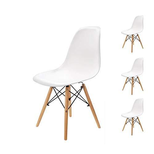 EGNM Set di 4 sedie da Pranzo, Stile Nordico, attacchi in Legno di faggio Naturale (Bianco-4)