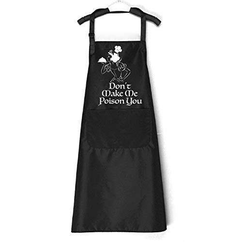 Chillake Funny Quotes Sayings Aprons for Women Wife Her | Black Kitchen Chef Apron with Adjustable Neck Strap Cooking Gift | Best Gifts for Birthday/Thanksgiving Day/Christmas