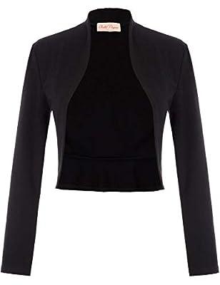 Belle Poque Women's Vintage 1940s Short Shrug Cardigans Open Front Coat Long Sleeve Blazer (Black,XL) from GRACE KARIN