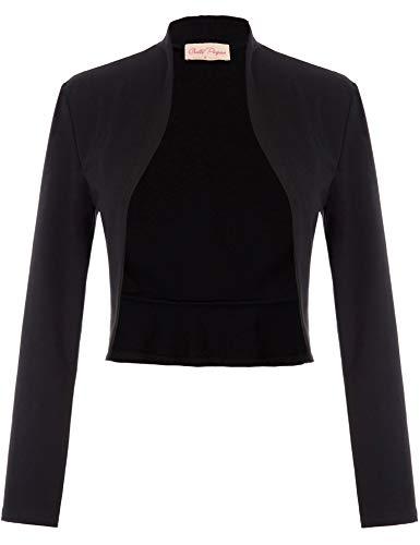 Belle Poque Women's Vintage 1940s Short Shrug Cardigans Open Front Coat Long Sleeve Blazer (Black,XL)