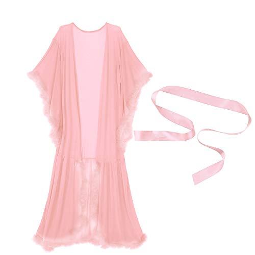 TiaoBug Damen Mittelalter Kleider Nachthemd mit Trompetenärmel Bademantel Morgenmantel transparente Babydoll romantische Nachtwäsche Coral Pink One Size