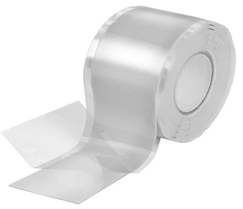 Poppstar 1x 3m selbstverschweißendes Silikonband, Silikon Tape Reparaturband, Isolierband und Dichtungsband (Wasser, Luft), 38mm breit, transparent