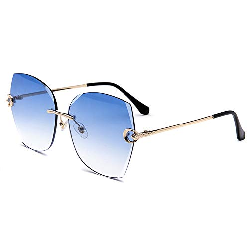 Stella Fella Nueva Película De Color Sin Marco Gafas De Sol Moda Color Gafas Pieza del Océano Cristal Recortar Gafas (Color : Blue)