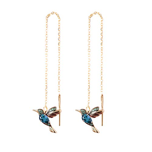 Janly Clearance Sale Women Earrings , Wing Spreading Zircon Hummingbird Long Pendant Earchain Lady Jewelry , Valentine's Day Birthday Jewelry Gifts for Ladies Girls (Blue-Gold)
