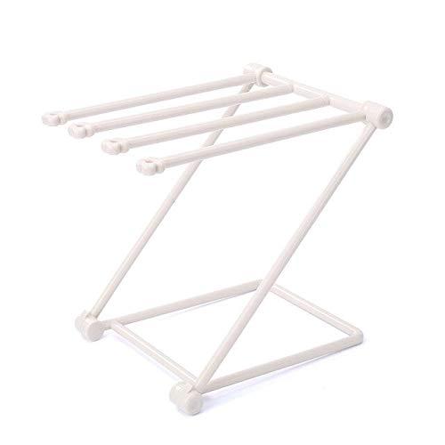 ZHIRUI Toallero Rack de Toalla de Baño Titular de Punch-Libre Vertical Plegable de Paño Estante de Plástico de la Toalla de Mano Estante de Toalla de China Beige