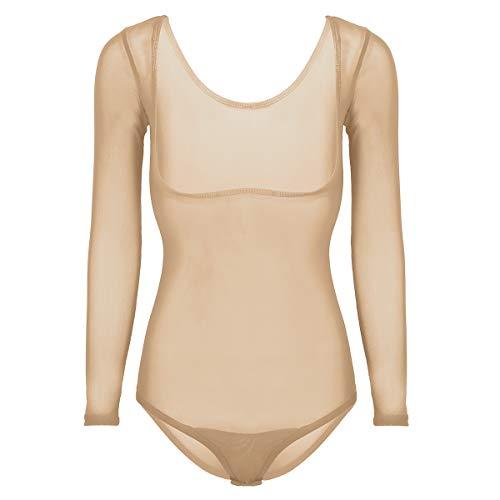 YiZYiF Damen Langarm Body Transparent Mesh Bodysuit Gymnastikanzug Trikot Einteiler Bauchtanz Tanz-Body Brustfrei Thong Leotard Nude Einheitsgröße