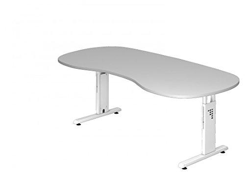 Schreibtisch DR-Büro - 200 x 100 cm - 7 Farben - höheneinstellbar 65-85 cm - Gestell weiß - Nierenform - horizontale Kabelwanne enthalten, Farbe:Grau