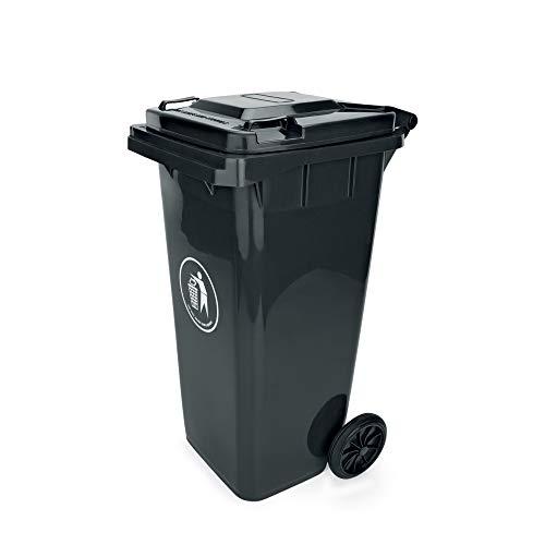 WAS 9975 122 HDPE Kunststoff Abfalltonne mit Zwei Rollen, Blau, 120 L, 95cm Höhe