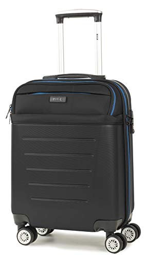 Rock Hybrid 55cm 8-Wheel Cabin Size Hardshell Suitcase with Easy Access Laptop Section in Black