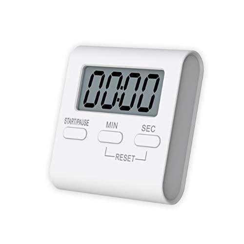 Temporizador de cocina LCD con pantalla digital magnética, alarma de cuenta regresiva, cronómetro, herramienta multifuncional para el hogar (color: blanco1)
