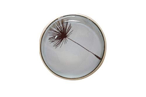 HaJuNa Magnetbrosche, Clip, Schmuckanhänger aus Edelstahl, 20mm, handgefertigt, Pusteblume schwarz auf hellblau