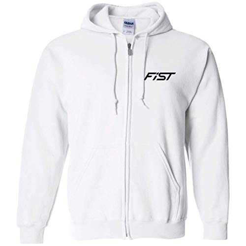 WheelSpinAddict Men's Fiesta ST Ecoboost 1.6 Zip Up Hooded Sweatshirt White