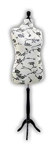 LUCCESI Schneiderbüste Damen Schneiderpuppe Größe/Size S, M, M-L, L, L-XL, XL (44-46) Büste Creme mit Blumen (schwarz) und Standfuss schwarz