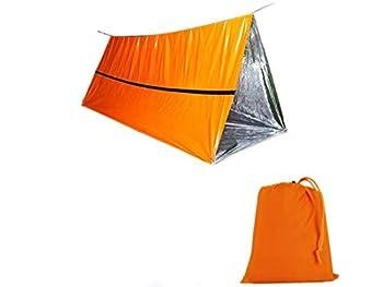 CMLLING Tente de survie d'urgence pour 1 personne, abri de survie pour camping et randonnée (orange)