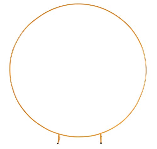 LANGXUN Φ8.5ft (2.6m) Large Size Golden Metal Round Balloon Arch kit Decoration, for Birthday Decoration, Wedding Decoration and Photo Background Decoration
