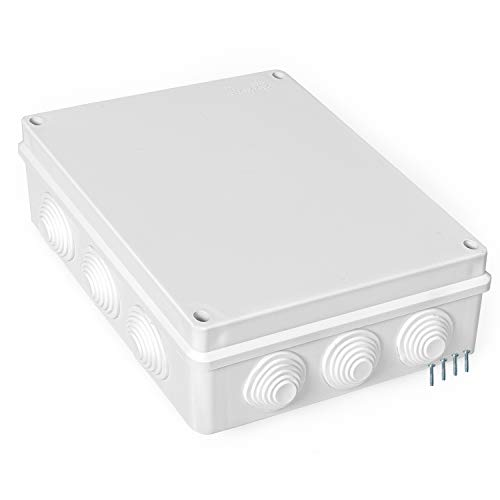 Outdoor Electrical Junction Box - XL 11 x 9 Inch Waterproof Plastic Box with Cover for Electronics