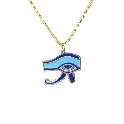 Colgante del Ojo de Horus Dorado esmaltado con Cadena, Amuleto contra la...